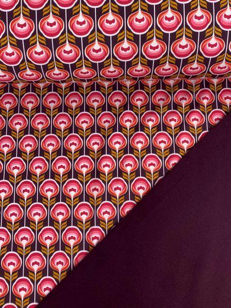 Softshell RetroFlower Pink/Weinrot