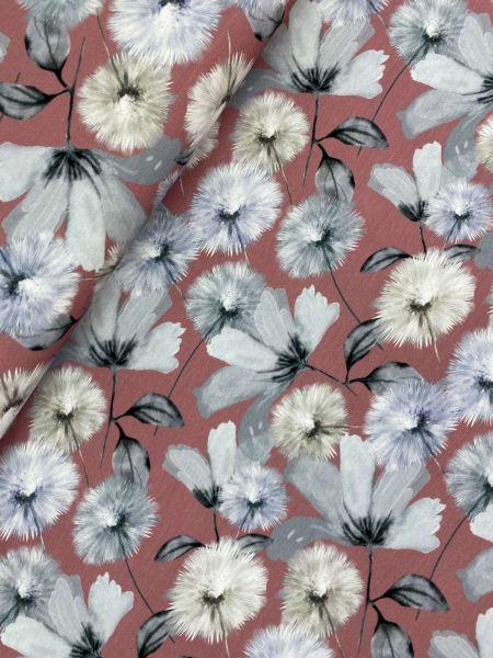 Baumwolljersey Ökotex Graue Blume Altrosa