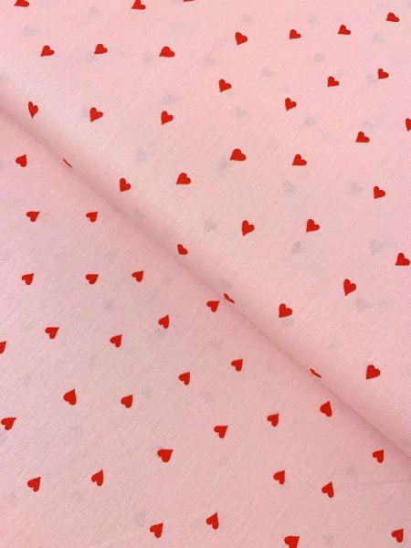 Baumwolle Herzen Rosa/Rot ÖKOTEX