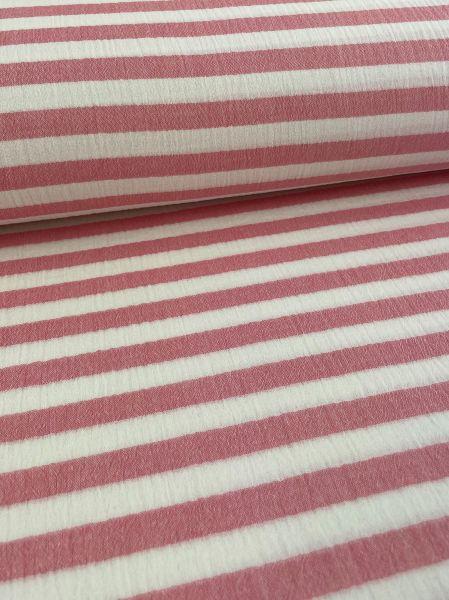Musselin ÖKOTEX Streifen Rot