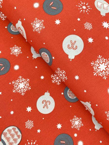 Baumwolle Weihnachtskugeln Rot