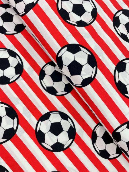 Baumwolle Ökotex Fussball Streifen Rot/Weiss