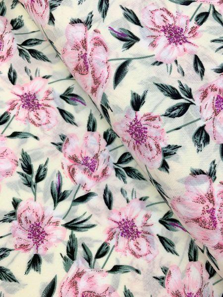 Viscose Flowery Weiss