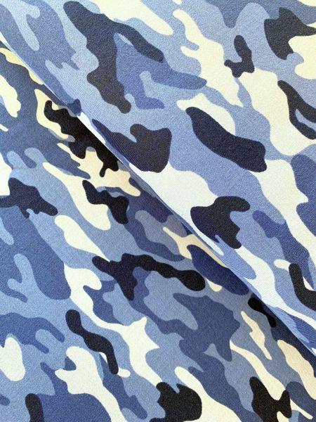 French Terry Camouflage Blau ÖKOTEX