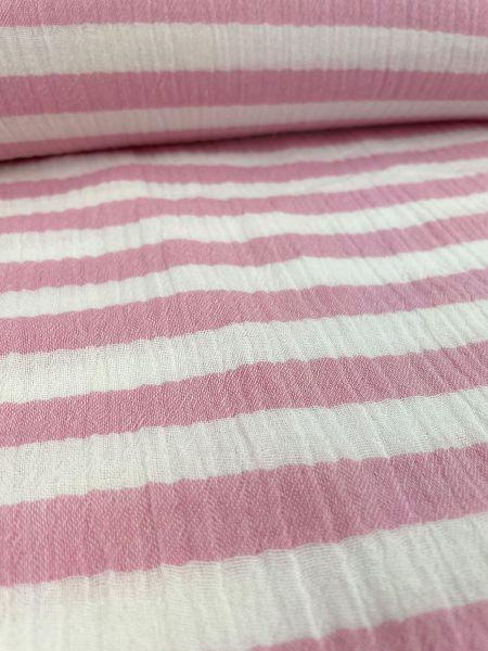 Musselin ÖKOTEX Streifen Pink