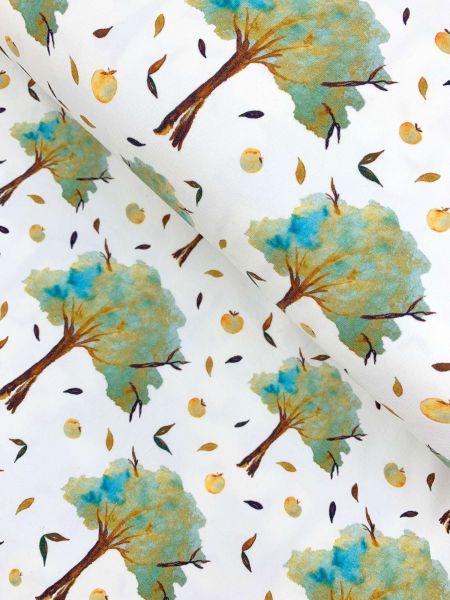 Baumwolljersey Lovely Trees Dusty Mint