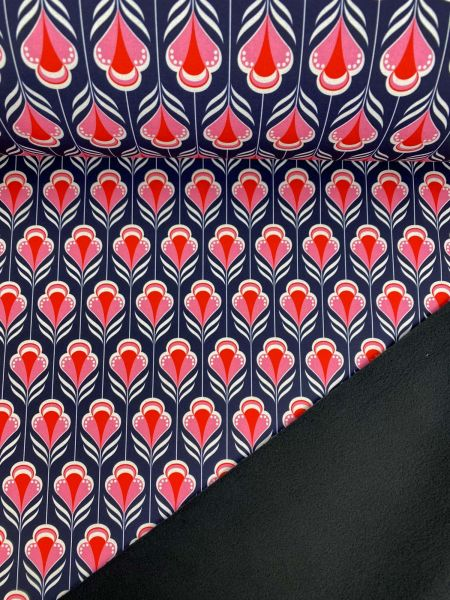 Softshell RetroFlower Grau/Rot