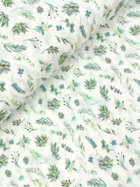 Musselin ÖKOTEX DIGITAL Blätter Grün